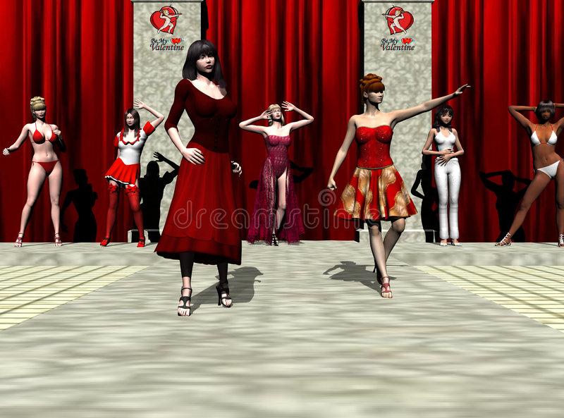 Valentine Fashion Show vector illustration