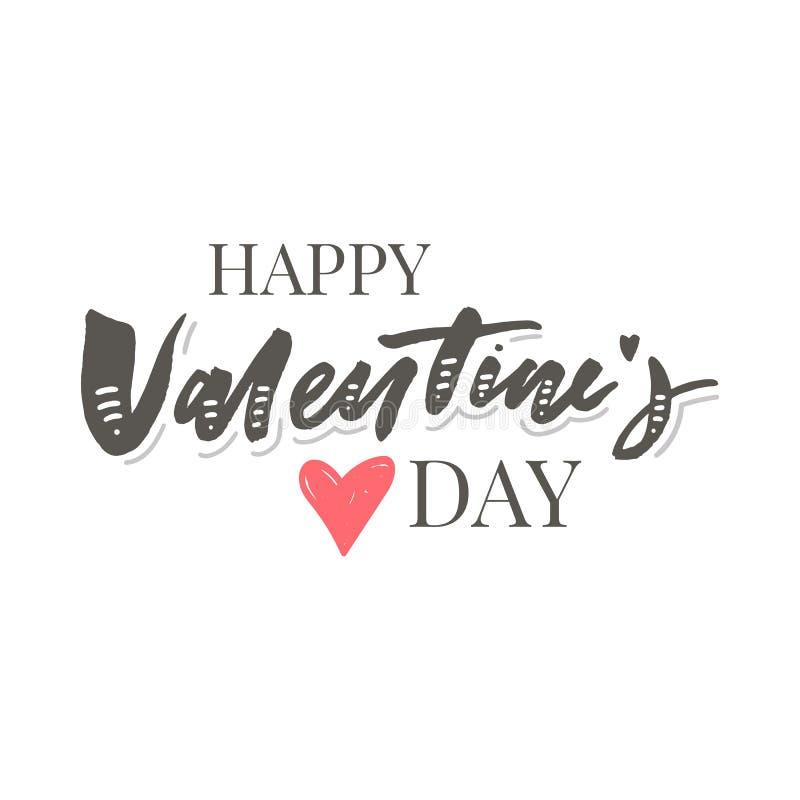 Valentine' felice; iscrizione disegnata a mano della spazzola di giorno di s con l'ombra lunga, isolata su fondo rosso ricco  royalty illustrazione gratis