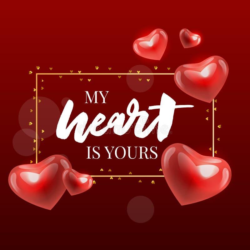 Valentine' felice; iscrizione disegnata a mano della spazzola di giorno di s con l'ombra lunga, isolata su fondo rosso ricco  illustrazione di stock
