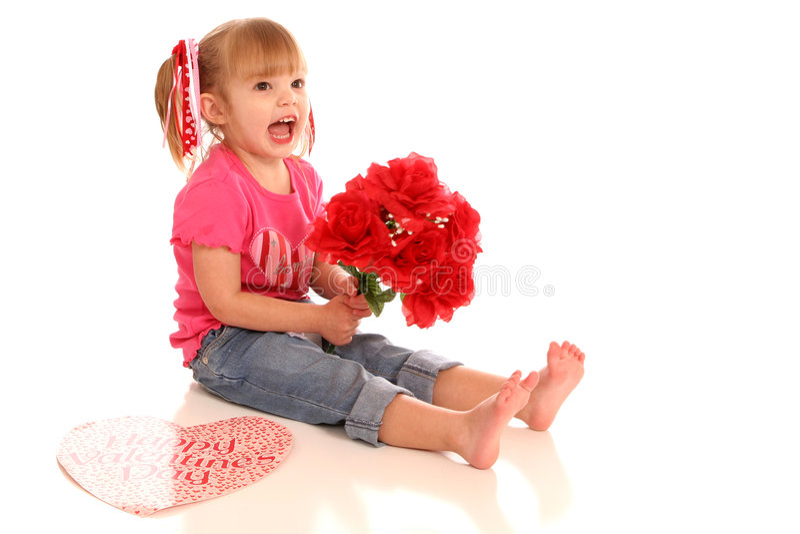 Valentine flower girl2 stock photo