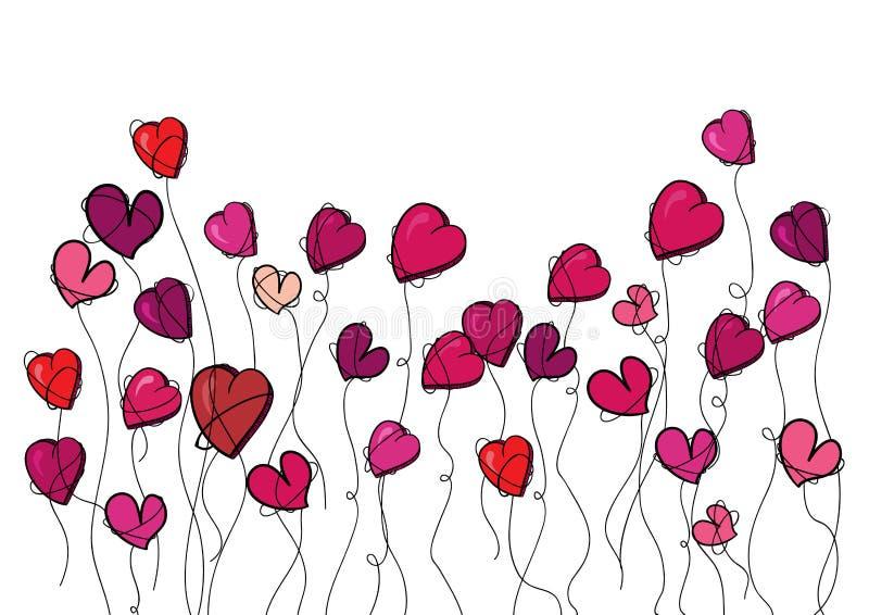 Valentine flowers love heart vector illustration