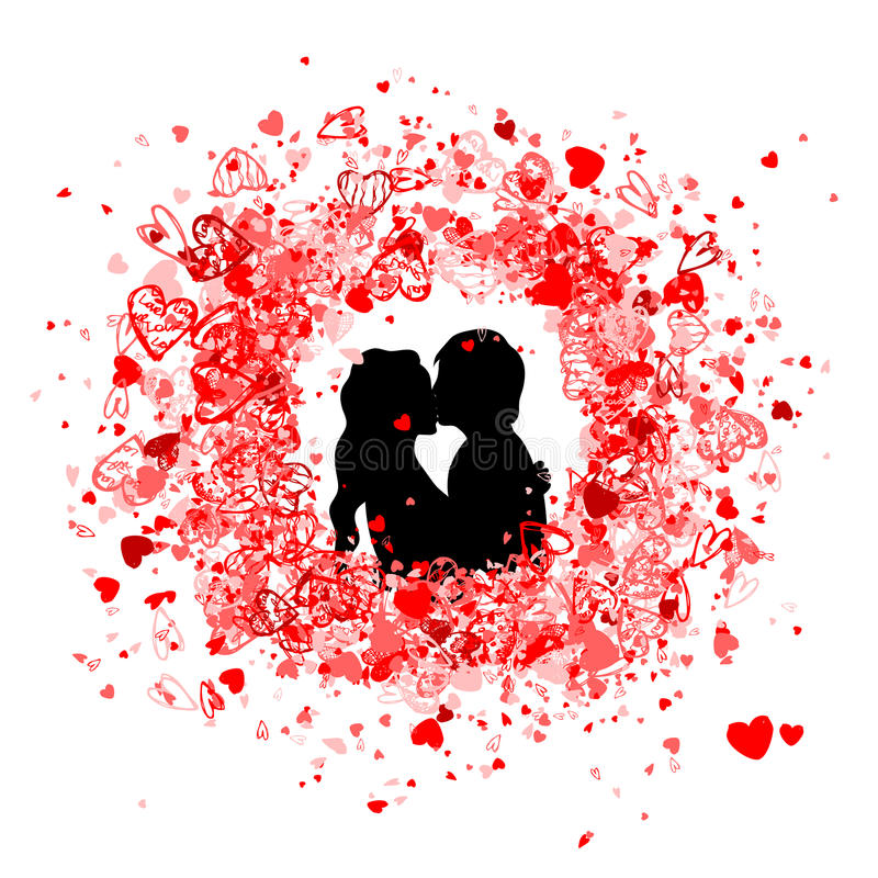 Valentine frame design with couple silhouette vector illustration
