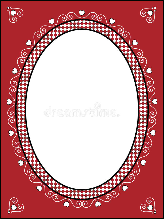Download Valentine Frame Or Tag With Gingham Trim Stock Vector - Image: 12055284