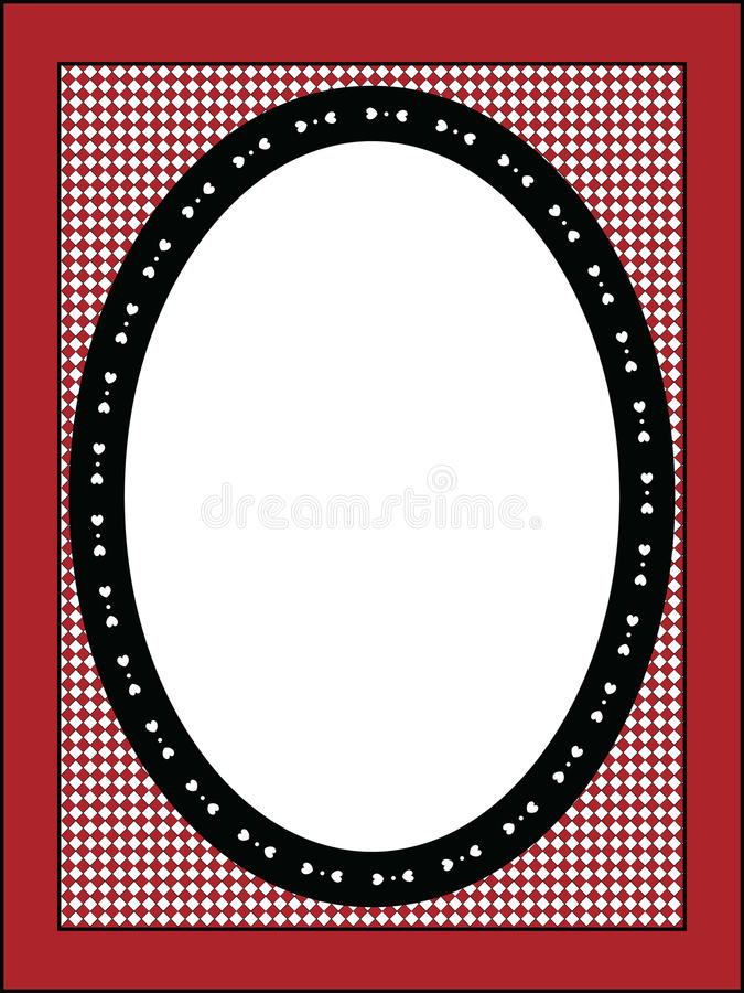 Valentine Frame or Tag With Gingham Trim royalty free stock images