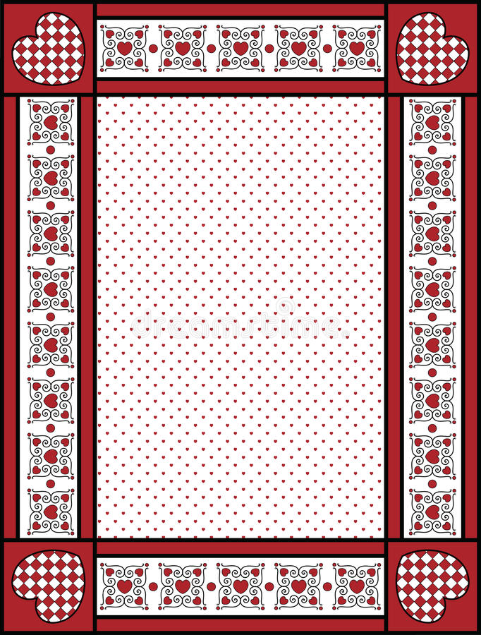 Valentine Frame or Tag With Gingham Trim stock photography