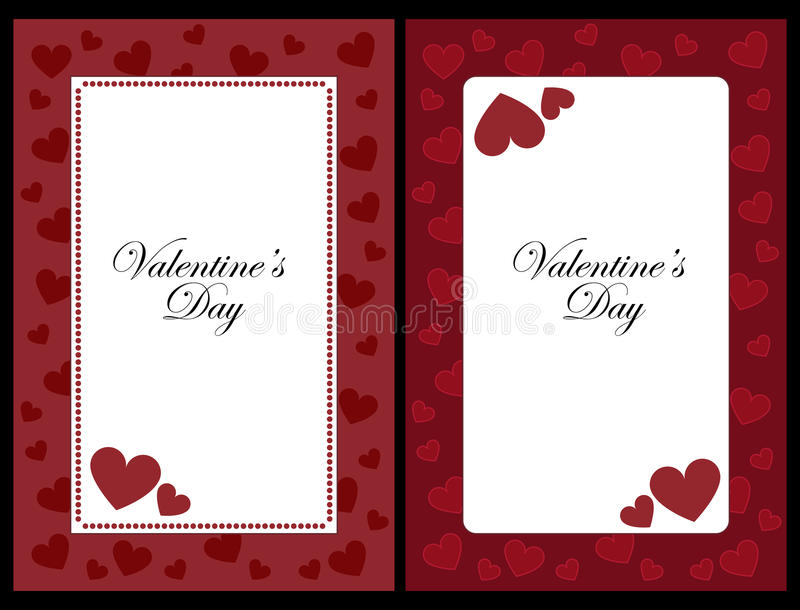 Valentine frames. Set of two Valentine frames with hearts, isolated on black background.EPS file available royalty free illustration