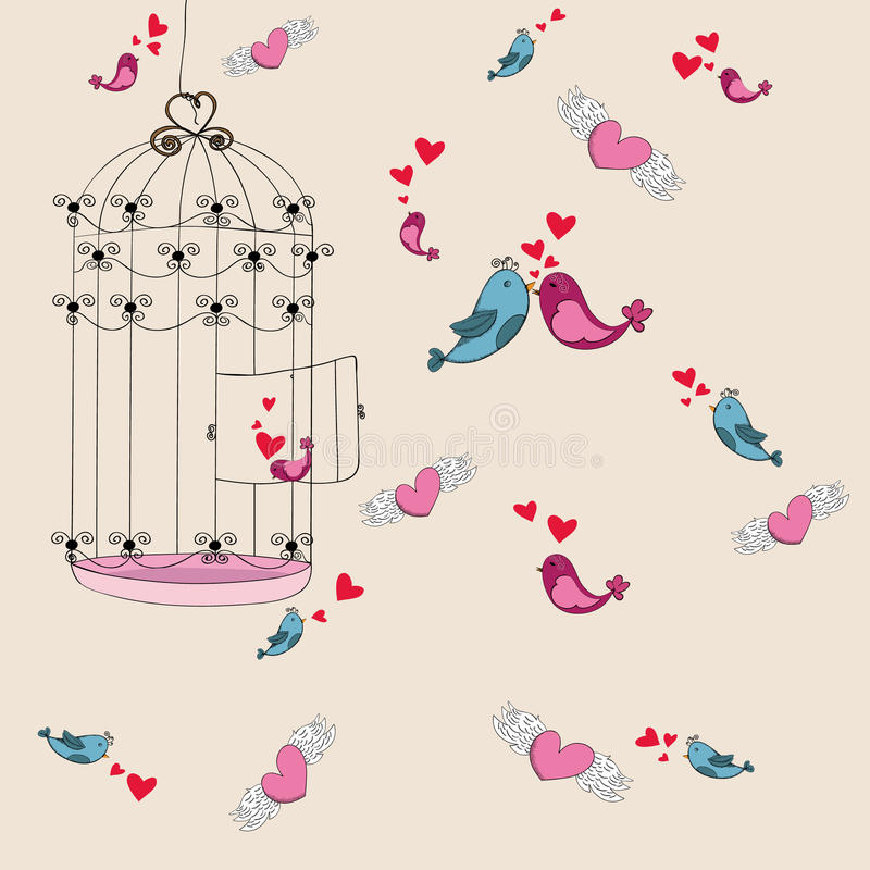 Valentine freedom bird love background stock illustration