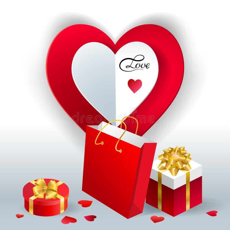 Valentine' fundo do vetor do dia de s com a caixa atual cortada do presente de época natalícia de papel dos corações Context ilustração stock