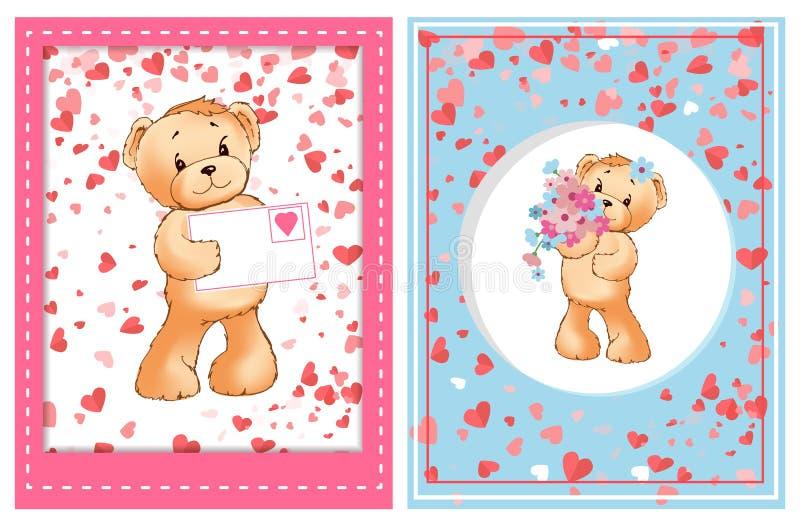Valentine Furry Bear com vetor da flor e da letra ilustração do vetor