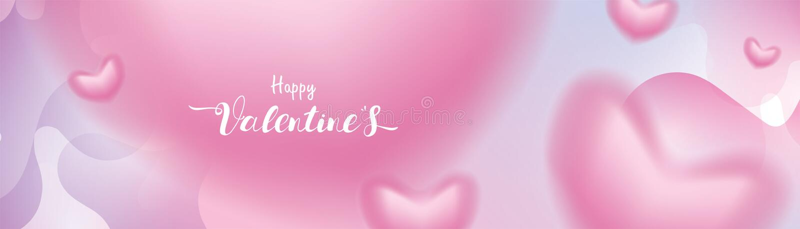 Valentine-geven de dag 3D roze Romantische Harten het onscherpe vliegen en het Drijven op abstracte pastelkleur vloeibare achterg vector illustratie