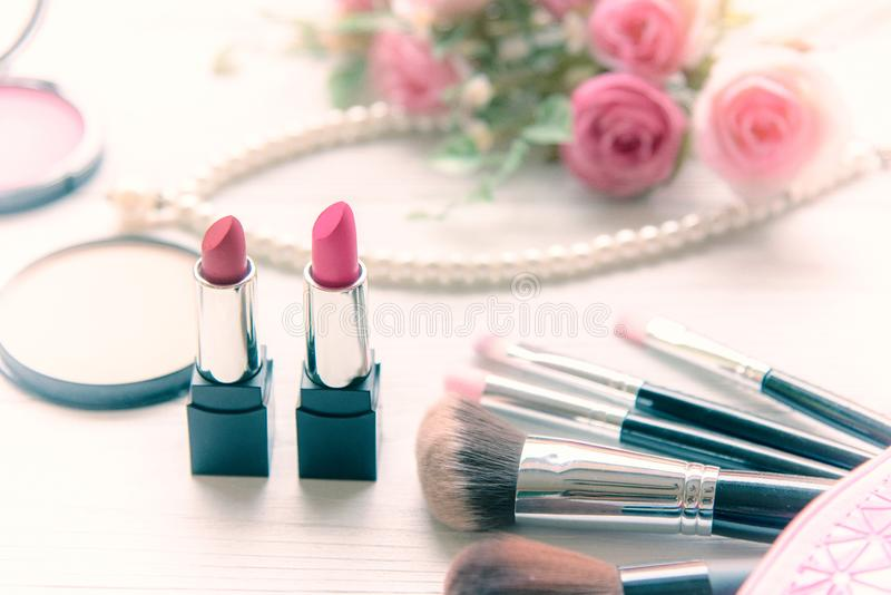 Valentine Gift. Makeup cosmetics tools background and beauty cosmetics, products stock images