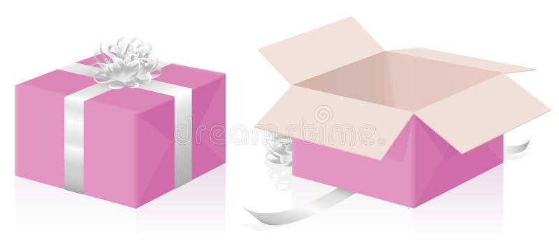 Valentine Gift Pink Package Closed se abrió stock de ilustración