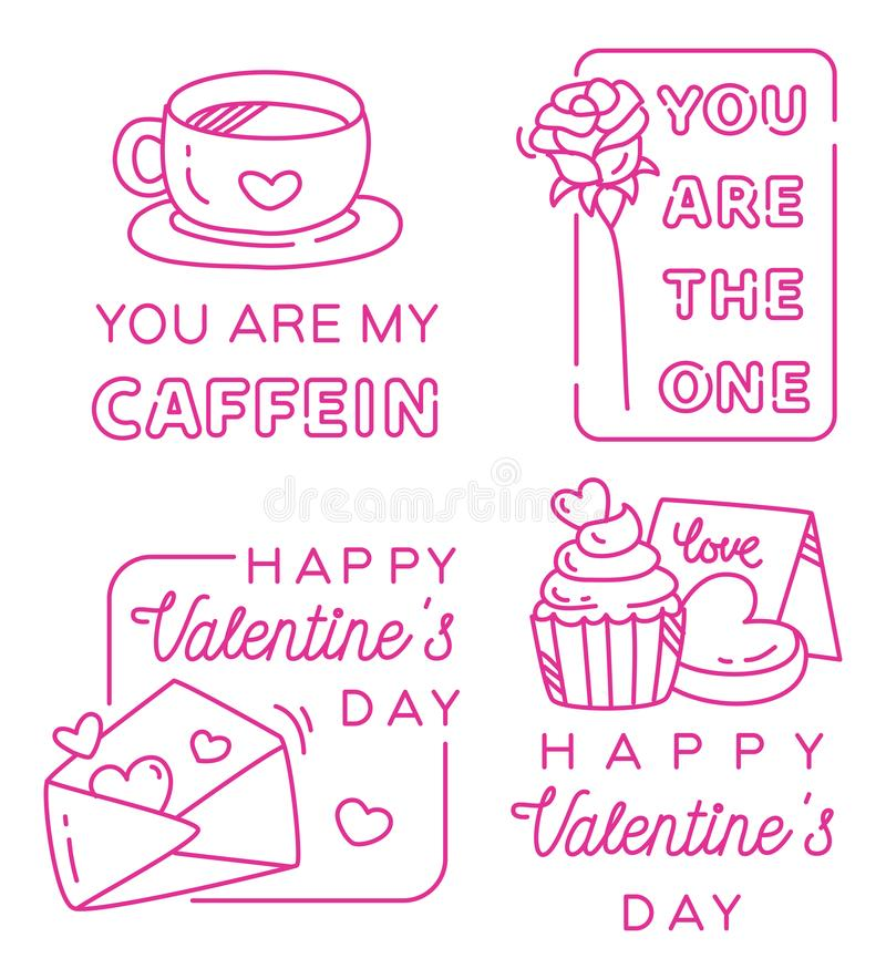 Valentine greeting badges design vector art royalty free stock photos