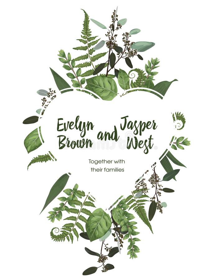 Valentine greeting card, invite card. Vector watercolor style herbs, eucalyptus, forest fern, waxflower. Natural, branches. Boxwood, buxusDecorative heart frame vector illustration