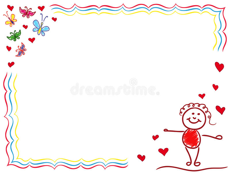 Valentine Greeting Card with Joyful Girl. Girl in Love, hand drawing vector cartoon Valentine greeting card stock illustration