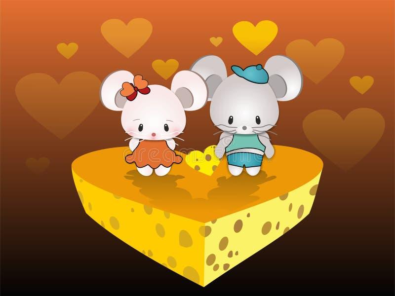 Valentine Greeting - coppia dei topi degli amanti royalty illustrazione gratis