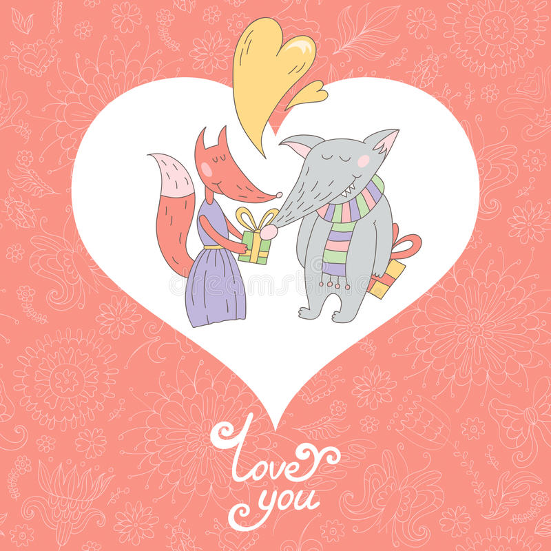 Valentine Greeting kort vektor illustrationer