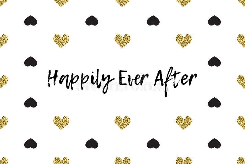 Valentine-groetkaart met tekst, zwarte en gouden harten royalty-vrije illustratie