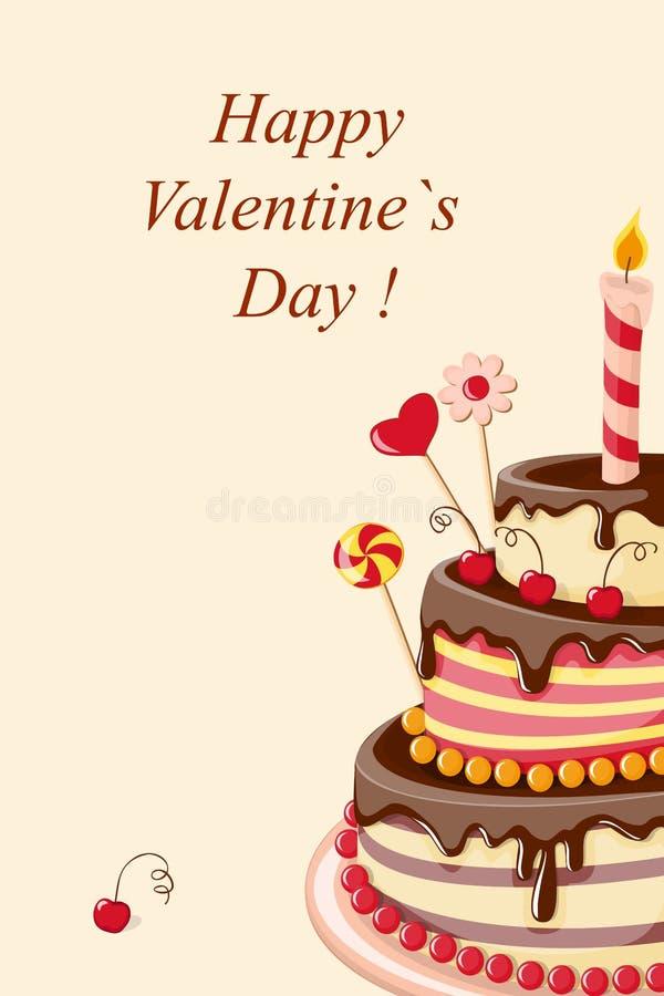 Valentine-grote cake royalty-vrije illustratie