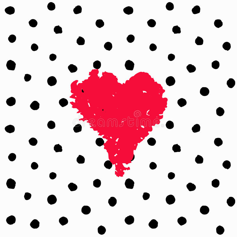 Valentine hand drawn card polka dots vector illustration