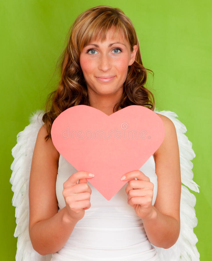 Download Valentine heart angel stock image. Image of female, attractive - 17596245