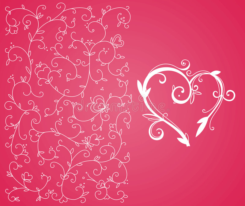 Valentine heart and background vector illustration