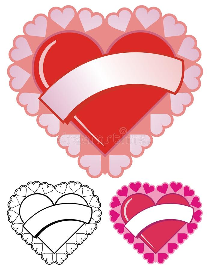 Valentine Heart With Banner royalty free illustration