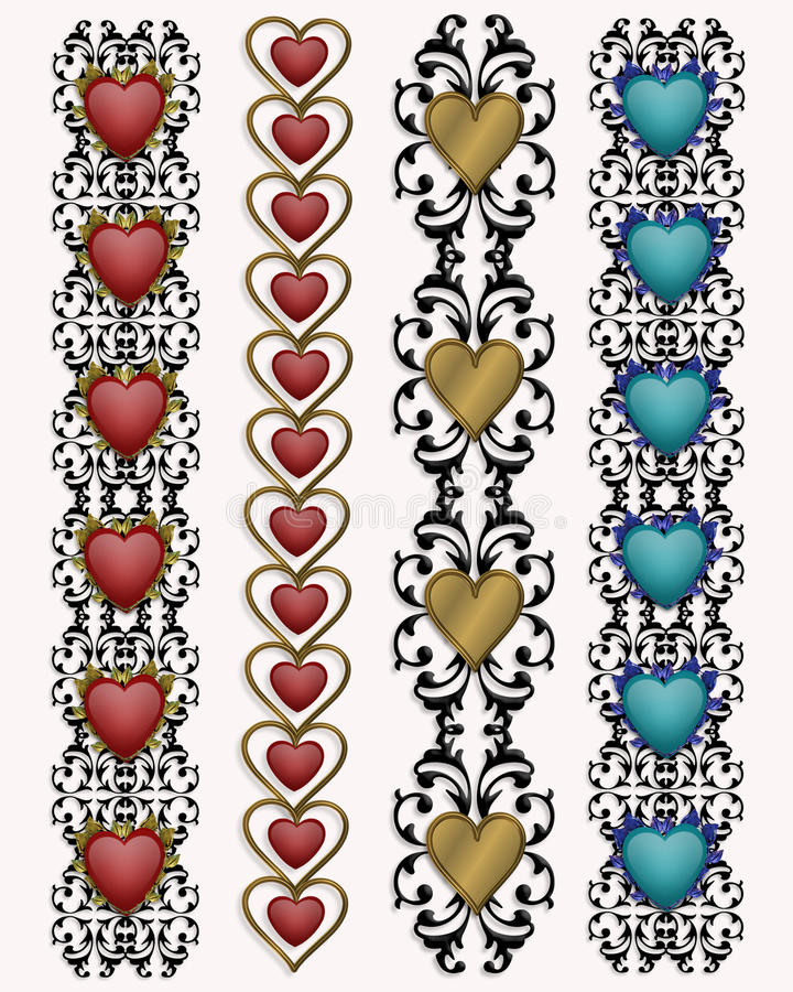 Valentine Heart borders stock photo