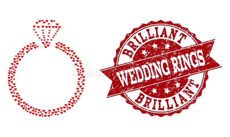 Valentine Heart Collage de Diamond Ring Icon y del sello de goma stock de ilustración