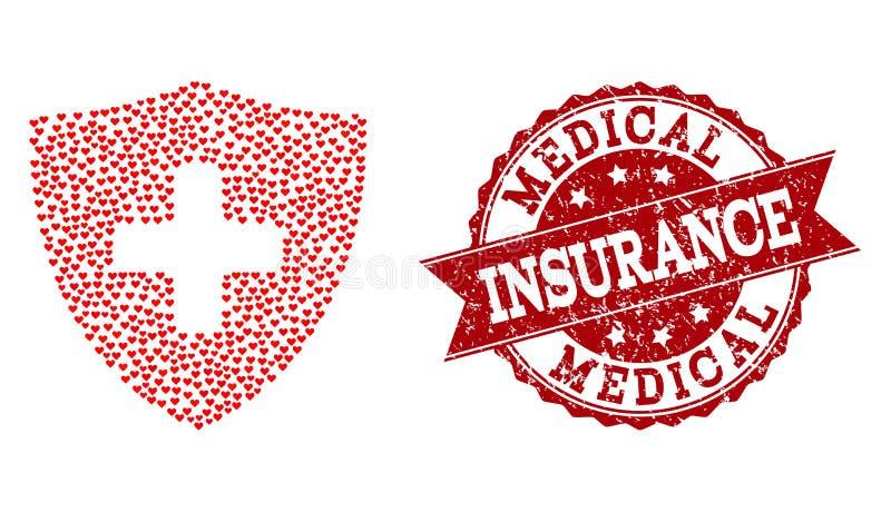Valentine Heart Collage del icono médico del escudo y de la filigrana de goma libre illustration