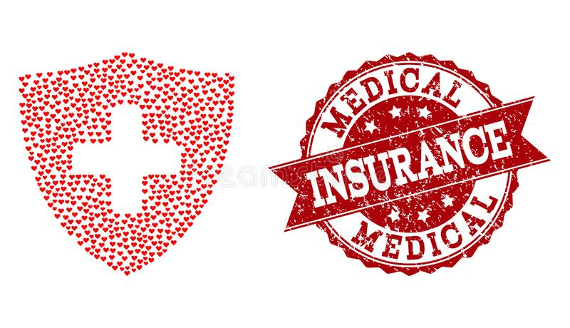 Valentine Heart Collage of Medical Shield Icon and Rubber Watermark royalty free illustration