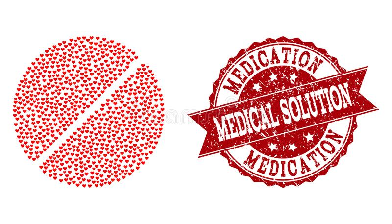 Valentine Heart Collage of Medication Tablet Icon and Grunge Watermark stock illustration