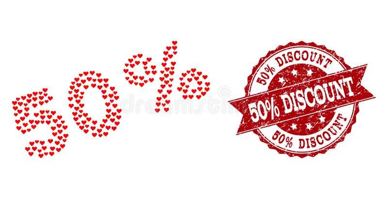 Valentine Heart Collage von 50 Prozent Ikonen-und von Gummiwasserzeichen lizenzfreie abbildung