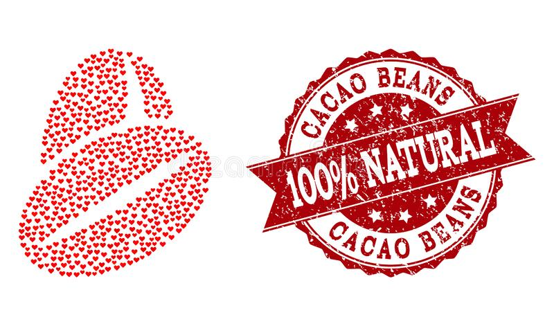 Valentine Heart Composition of Cacao Beans Icon and Grunge Seal stock illustration
