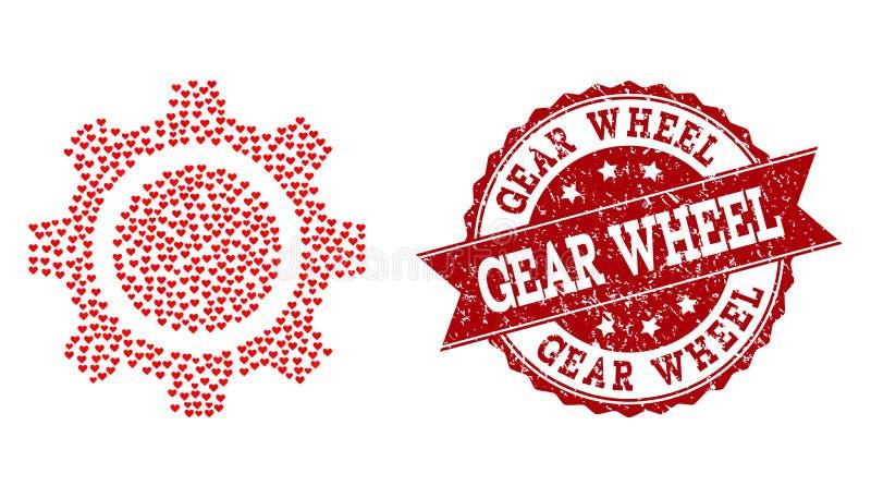 Valentine Heart Composition del icono de la rueda de engranaje y del sello del Grunge stock de ilustración