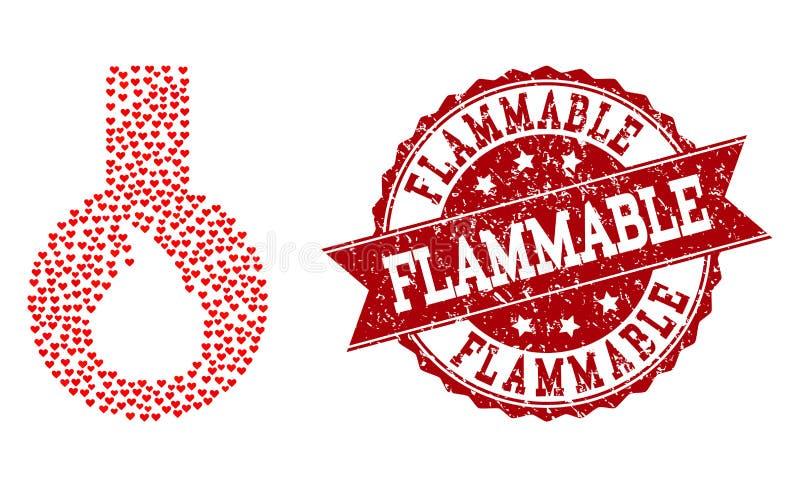 Valentine Heart Composition del icono del frasco y del sello inflamables del Grunge ilustración del vector