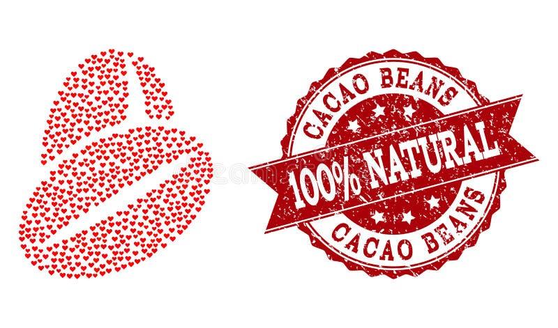 Valentine Heart Composition do ícone dos feijões do cacau e do selo do Grunge ilustração stock
