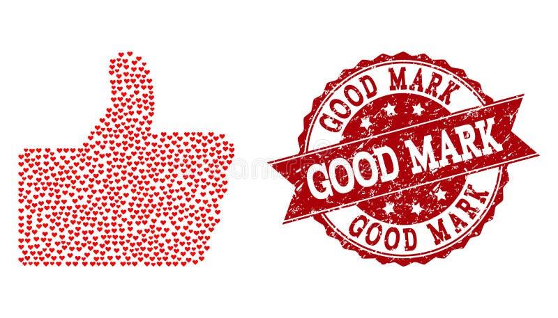 Valentine Heart Composition do polegar acima do ícone e do selo de borracha ilustração royalty free