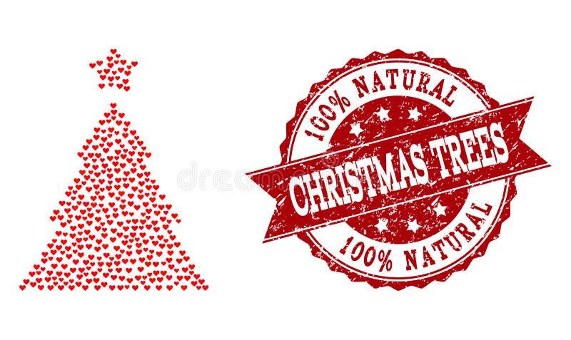 Valentine Heart Composition van Kerstboompictogram en Grunge-Watermerk stock illustratie