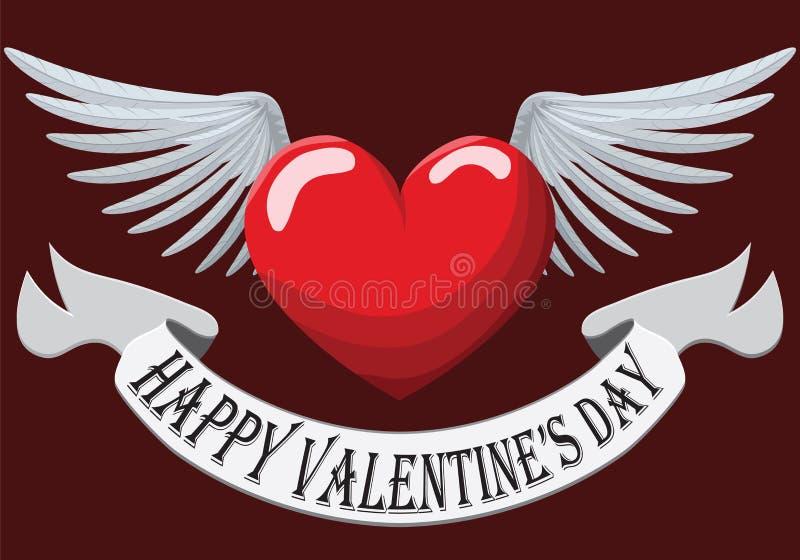 Valentine Heart con las alas ilustración del vector