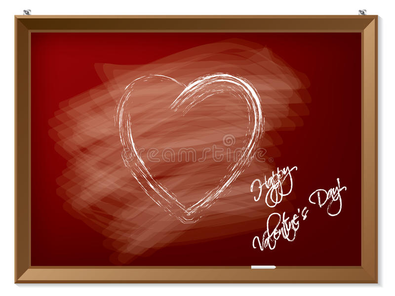 Download Valentine Heart Drawn On Red Chalkboard Stock Image - Image: 28763711
