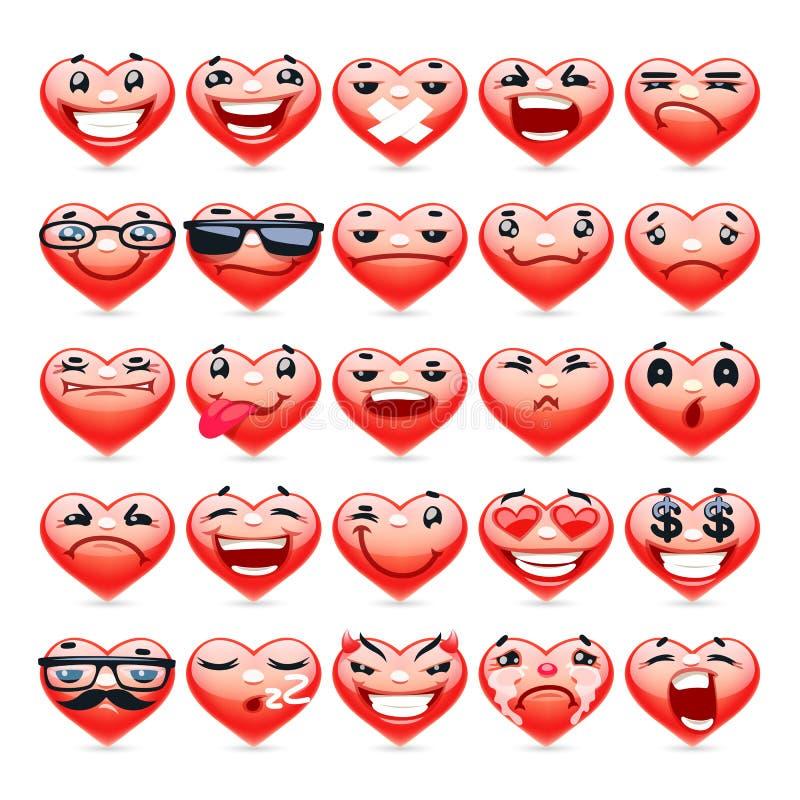 Valentine Heart Emoticons Collection ilustração do vetor