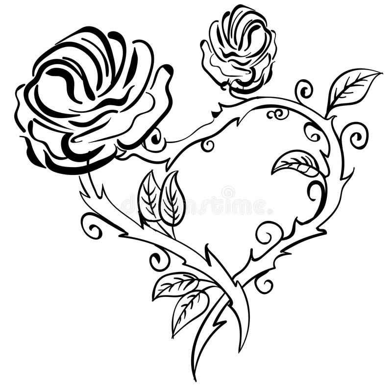 Valentine heart, forest berries sketch rose frame. Valentine heart, roses, forest berries. Vector Hand drawn artwork sketch tattoo heart rose frame. Love bohemia stock illustration