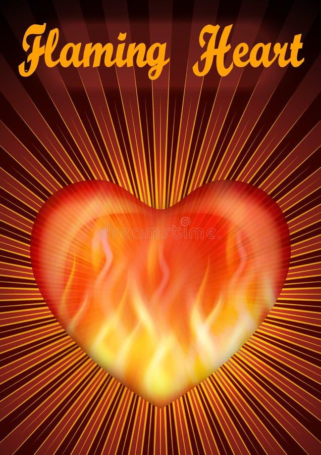 Valentine Heart llameante ilustración del vector