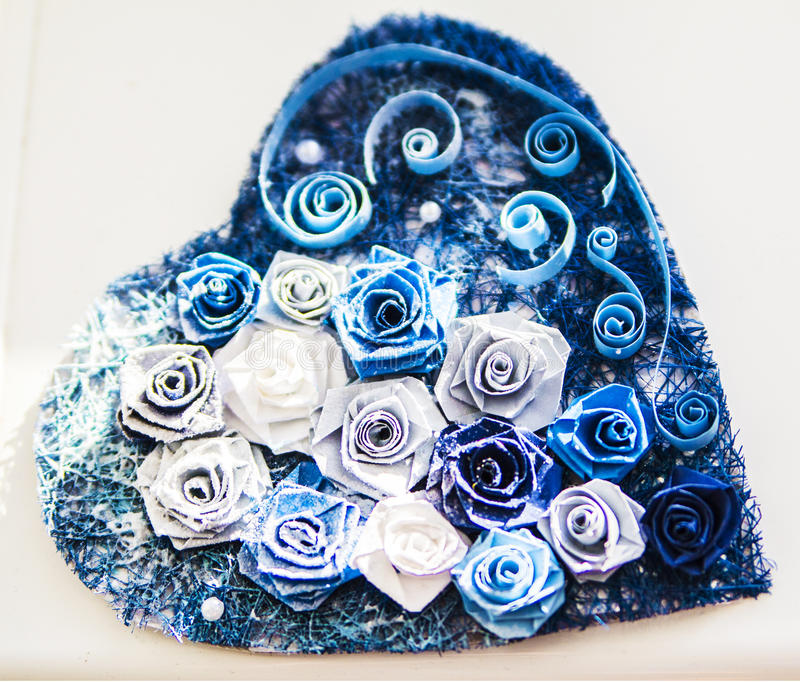 Valentine heart made of blue roses stock photo image for How are blue roses made