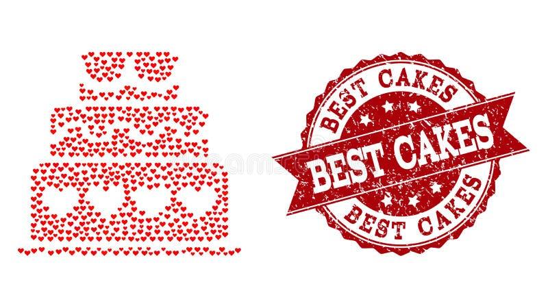 Valentine Heart Mosaic del icono de la torta del matrimonio y de la filigrana de goma ilustración del vector