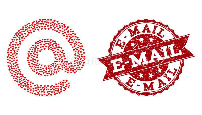 Valentine Heart Mosaic del icono del símbolo del correo electrónico y de la filigrana del Grunge libre illustration