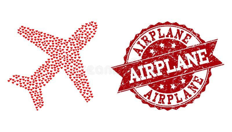 Valentine Heart Mosaic do ícone do avião e do selo do Grunge ilustração royalty free