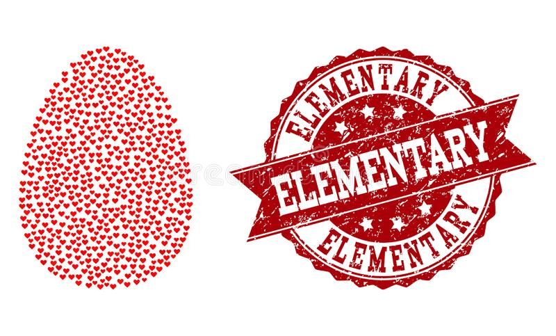Valentine Heart Mosaic do ícone do ovo e do selo do Grunge ilustração royalty free