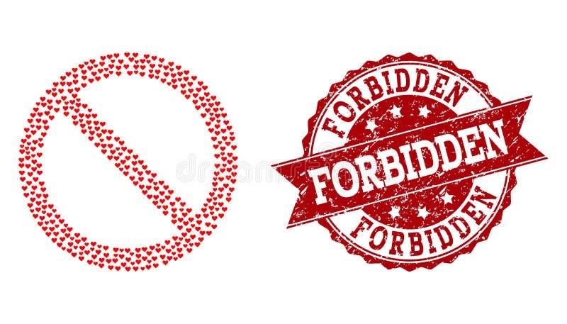 Valentine Heart Mosaic do ícone proibido e da filigrana de borracha ilustração do vetor
